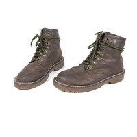 90s Lace Up Combat Boots Vegan Brown Ankle Boots Vintage Hiking Boots Faux Leather Doc Martens Style (5.5)