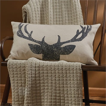 """Rustic Antlers Pillow - 26"""" x 16"""""""