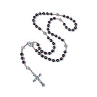 Catholic Rosary, Garnet and Sliver Rosary, Silver Cross and Rose, Silk cord Rosary, in Handmade