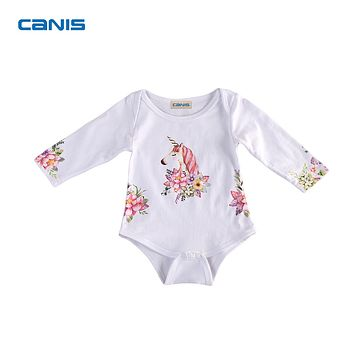 2017 Brand New Unicorn Newborn Toddler Baby Girls Boys Infant Long Sleeve Bodysuit Jumpsuit Outfits Lovely Clothes