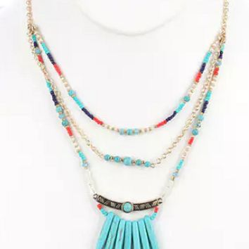 """18"""" gold turquoise natural stone choker bib collar necklace spike seed bead"""
