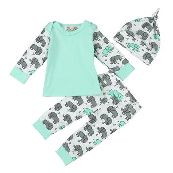 2 pcs Set Baby clothes Elephant printed Sweatshirt Tops+ Long Pants Hat baby Outfits Clothes drop shipping