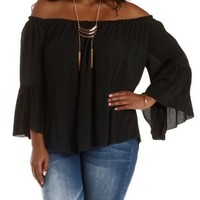 Plus Size Black Bell Sleeve Swing Top by Charlotte Russe
