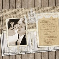 Burlap and Lace Wedding Invitation ,Rustic, Chipped Wood, Crystal Chandelier, Digital file, Printable