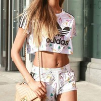 Adidas Print Short sleeve Cami Crop Top Shorts Sweatpants Set Two-Piece Sportswear