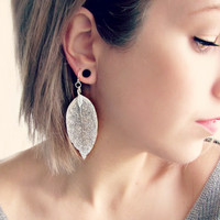 Sterling Silver Leaf Earrings  Delicate Silver Earrings with Shimmering Natural Leaves 