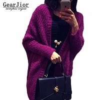 2017 new women's solid wild knitted sweaters women batwing sleeve cardigans female Thicken Shawl knitted waistcoat 4colors