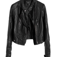 Faux Leather Pockets Zipper Jacket