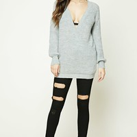 Ribbed Surplice Front Sweater