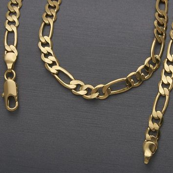 Gold Layered Men and Women Figaro Basic Necklace, by Folks Jewelry