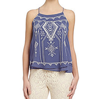 Blu Pepper Embroidered Top - Blue