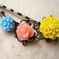 Sunny yellow, melon and sky blue hair pins by PiggleAndPop on Etsy