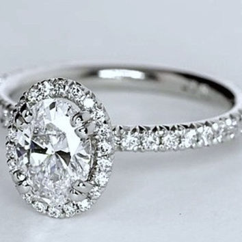 1.60ct Oval Diamond Engagement Ring Halo Platinum GIA certified