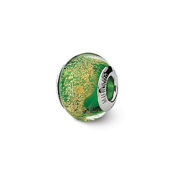 Green/Golden Italian Murano Glass Bead & Sterling Silver Charm, 14mm