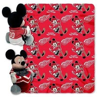 Detroit Red Wings NHL Mickey Mouse Throw and Hugger Pillow Set