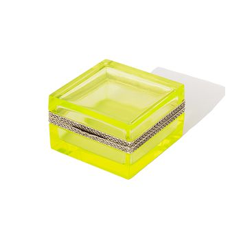 Large Square Green Vaseline Glass Box