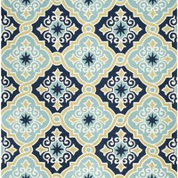Four Seasons Country & Floral Indoor/Outdoorarea Rug Navy / Light Blue