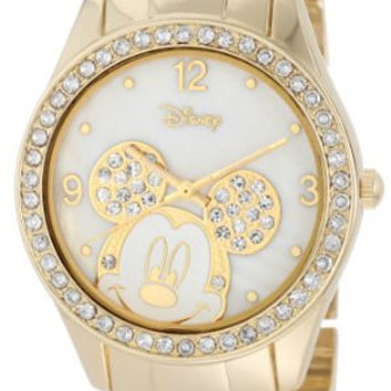 Disney Women's MK2127 Mickey Mouse Rhinestone Accent Gold-Tone Bracelet Watch