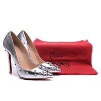Christian Louboutin Silver Patent Leather Silver Nails High Heels 100mm