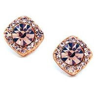 Heirloom Finds Gorgeous Rose Gold Tone and Peach Crystal Earrings