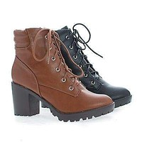 Ranger21 By Breckelle's, Round Toe Lace Up Padded Collar Lug Sole Ankle Combat Boots