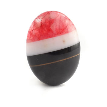 Black and Red Agate Cabochon, Flat Back Stone Cabs, Cabs For Bezels 25 x 18 CB183