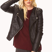 Street-Chic Spiked Moto Jacket