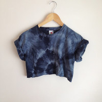 Tie Dye Spiral Grey/Black Crop Top