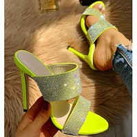 2020 new women's large size stiletto open toe rhinestone high heels shoes