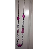 Light pink with silver necklace with pink earring set