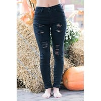 Emberly High Rise KanCan Black Distressed Jeans