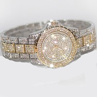 Famous Brand Bling Rose Gold Crystal Watch Stylish Women Watch Luxury Sparkly Crystal Gold Shinning Diomand Rhinestone Bangle