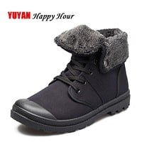 New Autumn Winter Boots Men Canvas Shoes Fashion Ankle Boots Warm Plush for Cold Winter Mens Boots Male Brand Footwear K090