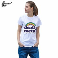 Fashion Death Metal Music Heavy Unicorn Rainbow Design Pattern Short-Sleeved T-Shirt Unisex Tee Tops White Sleeves T Shirts H689