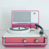 vintage dusty pink portable electric record player