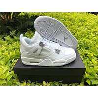 Air Jordan retro 4 pure money royalty thunder bred white cement men women basketball shoes sneakers