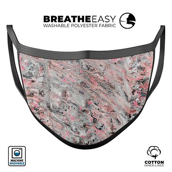 Abstract Wet Paint Pink Swirl - Made in USA Mouth Cover Unisex Anti-Dust Cotton Blend Reusable & Washable Face Mask with Adjustable Sizing for Adult or Child