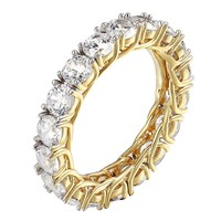 Solitaire Eternity Wedding Band Ring 14k Gold On Sterling Silver Brilliant Cut
