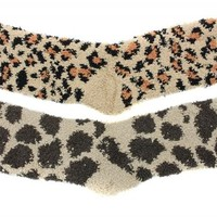 Cozy Butter Slipper Socks 2 Pair Cheetah Giraffe Print One Size
