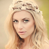 Wedding Double Flower Crown Woodland  Fairy Flower White by deLoop