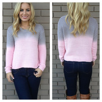 Pink & Grey Ombre Knit Sweater