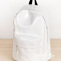 Backpack Leather Fashion schoolbag travelling bag Color White BPK 48 Free Shipping