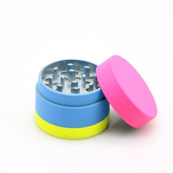 New Fashion Rubber Paint Candy Colored Smoking Grinder 40mm 3 Layers Mini Crusher Spice Pollen Herbal Pipe Tobacco Herb Grinder