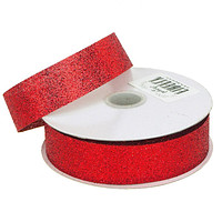 Glitter Ribbon Christmas Gift-wrapping, 7/8-Inch, 25 Yards, Red