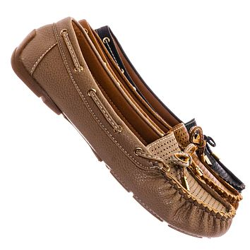 Jimmi06 Moccasin Boat Shoes - Women Raw Edge w Bow Tie Slippers