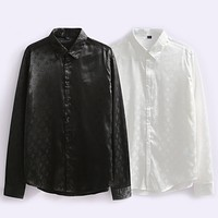 Louis Vuitton New Style Satin Fabric Shirt Top Jacquard Texture Fashion Shirt