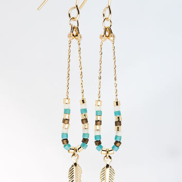 Feather Earrings - Gold & Turquoise