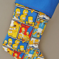 Simpsons Christmas Stocking, Bart Simpson, Lisa Simpson, Homer Simpson, Pop Culture Christmas Stocking, Simpson's Holiday Stocking
