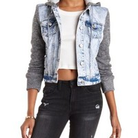 Acid Wash Denim Hooded French Terry & Denim Jacket by Charlotte Russe