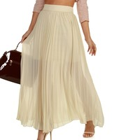 Sale-ivory Pleaty Please Maxi Skirt